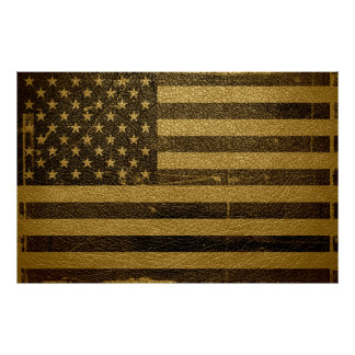 Cuero del vintage de la bandera americana posters