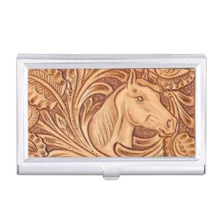 Cuero equipado modelo occidental rústico del cajas de tarjetas de visita