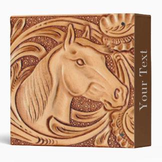 "Cuero equipado modelo rústico del caballo carpeta 1 1/2"""