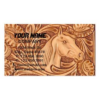 Cuero equipado modelo rústico del caballo tarjetas de visita