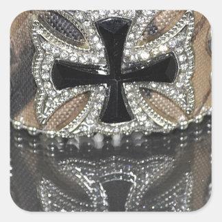 Cuero equipado modelo rústico del país occidental pegatinas cuadradas personalizadas
