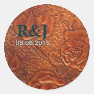 Cuero equipado modelo rústico del país occidental etiqueta redonda