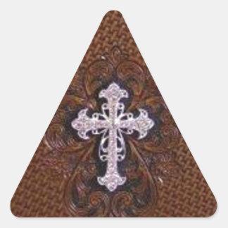 Cuero equipado modelo rústico del país occidental calcomanías de trianguladas