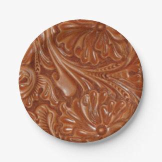 Cuero equipado modelo rústico del país occidental plato de papel de 7 pulgadas