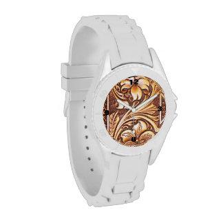 Cuero equipado modelo rústico del país occidental relojes
