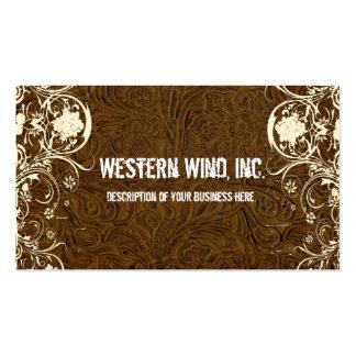 Cuero equipado oscuro de Brown y tarjeta de visita