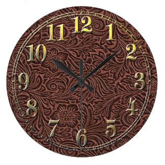 Cuero equipado reloj redondo grande