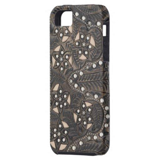 Cuero equipado Studded del diamante artificial iPhone 5 Case-Mate Fundas