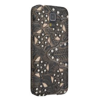 Cuero equipado Studded del diamante artificial Funda Galaxy S5