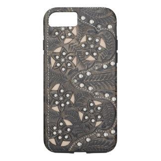Cuero equipado Studded del diamante artificial Funda iPhone 7