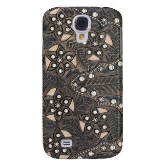 Cuero equipado Studded del diamante artificial Funda Samsung S4