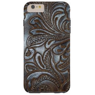 Cuero grabado en relieve vintage de Brown Funda Para iPhone 6 Plus Tough