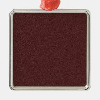 Cuero marrón adorno navideño cuadrado de metal