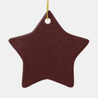 Cuero marrón adorno navideño de cerámica en forma de estrella