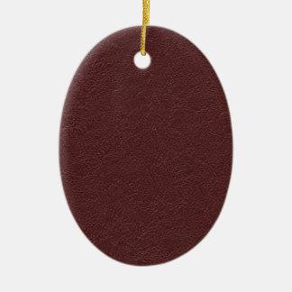 Cuero marrón adorno navideño ovalado de cerámica