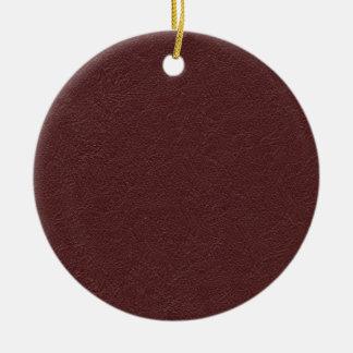 Cuero marrón adorno navideño redondo de cerámica