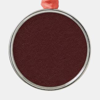 Cuero marrón adorno navideño redondo de metal