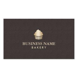 Cuero marrón oscuro elegante de la panadería de la tarjetas de visita