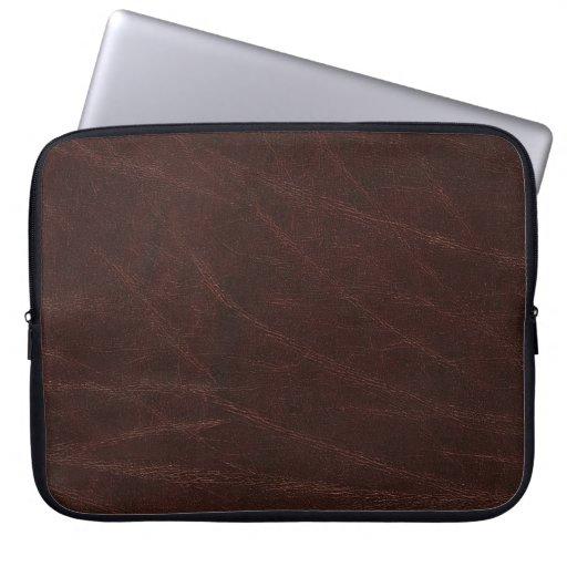 Cuero marrón oscuro funda portátil