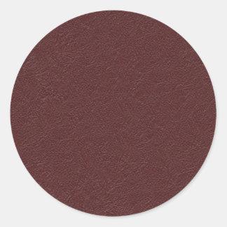 Cuero marrón pegatina redonda