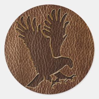 Cuero-Mirada Eagle Pegatina Redonda