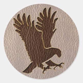 Cuero-Mirada Eagle suave Pegatina Redonda