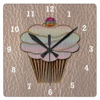 Cuero-Mirada que cuece suavemente Reloj Cuadrado