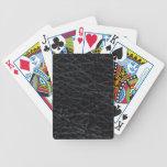 Cuero negro baraja cartas de poker