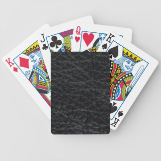 Cuero negro baraja de cartas bicycle