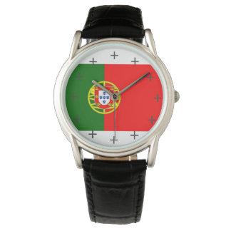 Cuero negro clásico de encargo de Portugal Reloj