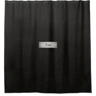 Cuero negro con el cuarto de baño de la placa cortina de baño