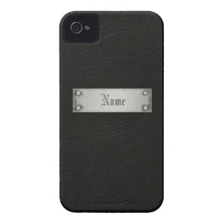 Cuero negro con la placa Case-Mate iPhone 4 funda