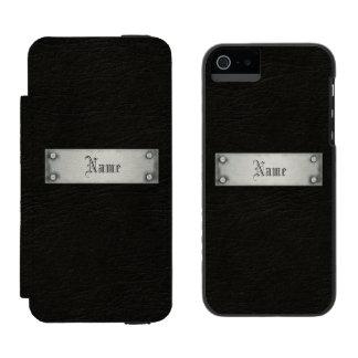 Cuero negro con la placa funda billetera para iPhone 5 watson