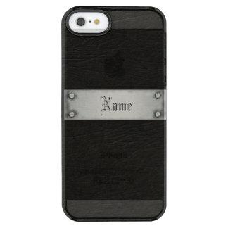 Cuero negro con la placa funda clearly™ deflector para iPhone 5 de uncommon