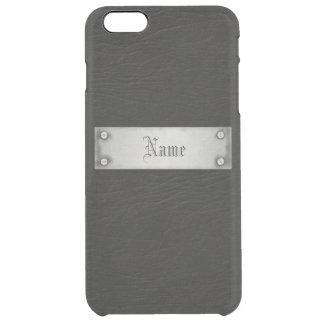Cuero negro con la placa funda clearly™ deflector para iPhone 6 plus de unc