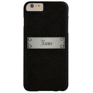 Cuero negro con la placa funda de iPhone 6 plus barely there