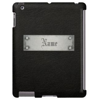 Cuero negro con la placa funda para iPad