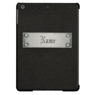 Cuero negro con la placa funda para iPad air