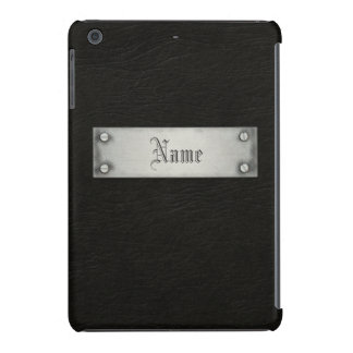 Cuero negro con la placa funda para iPad mini retina