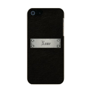 Cuero negro con la placa funda para iPhone 5 incipio feather shine
