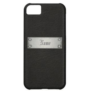 Cuero negro con la placa funda para iPhone 5C