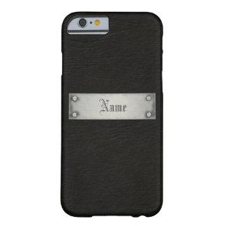 Cuero negro con la placa funda para iPhone 6 barely there