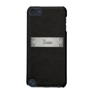 Cuero negro con la placa funda para iPod touch 5G