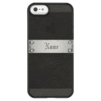 Cuero negro con la placa funda permafrost™ deflector para iPhone 5 de uncom