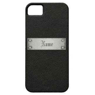 Cuero negro con la placa iPhone 5 fundas