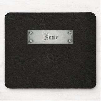 Cuero negro con la placa mouse pads
