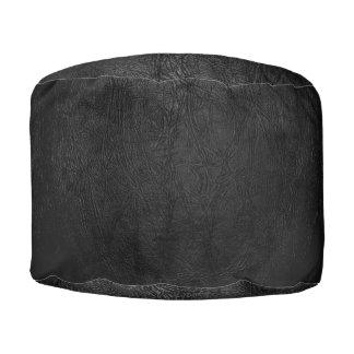 Cuero negro de Digitaces Puf Redondo