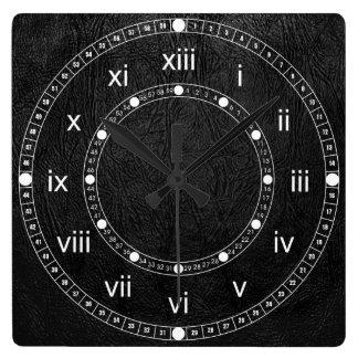 Cuero negro de Digitaces Reloj Cuadrado