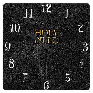 Cuero negro de la religión cristiana de la Sagrada Reloj Cuadrado