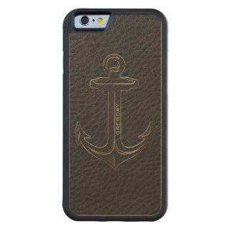 Cuero negro del vintage, acento náutico del oro funda de iPhone 6 bumper arce